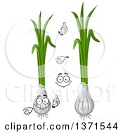 Cartoon Face Hands And Green Onions