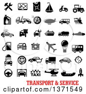 Clipart Of Black And White Transport And Service Icons Over Text Royalty Free Vector Illustration by Seamartini Graphics