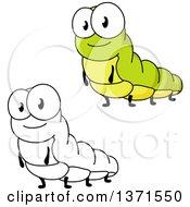 Clipart Of Cartoon Caterpillars Royalty Free Vector Illustration