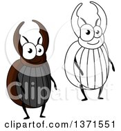 Clipart Of Cartoon Happy Stag Beetles Royalty Free Vector Illustration by Vector Tradition SM
