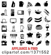 Clipart Of Black And White Appliance And Food Icons Over Text Royalty Free Vector Illustration