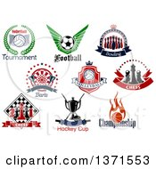 Poster, Art Print Of Sports And Chess Designs And Text