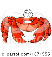 Clipart Of A Cartoon Happy Red Crab Looking Up Royalty Free Vector Illustration