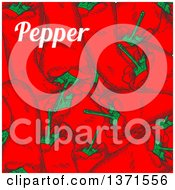 Clipart Of A Background Of Red Paprika Peppers And Text Royalty Free Vector Illustration