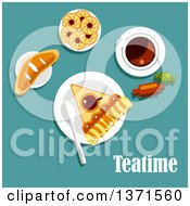 Clipart Of Teatime Snacks With Tea Apple Pie Cookies Jam Sweet Bun And Candies Over Turquoise With Text Royalty Free Vector Illustration