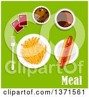 Clipart Of A Hot Dog Fries Ketchup Soda And Cupcake With Text On Green Royalty Free Vector Illustration