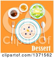 Clipart Of A Sweet Milk Cake Butter Fresh Blueberries Cup Of Coffee With Bun And Salad With Text On Orange Royalty Free Vector Illustration