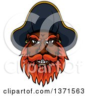 Clipart Of A Cartoon Tough Black Male Pirate Captain With A Red Beard Wearing A Hat Royalty Free Vector Illustration