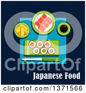 Clipart Of Sushi Maki Rolls With Salmon Avocado And Red Caviar Rice With Shrimps Tofu Slices Soy Sauce And Chopsticks On Blue With Text Royalty Free Vector Illustration by Vector Tradition SM