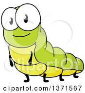Clipart Of A Cartoon Smiling Green Caterpillar Royalty Free Vector Illustration by Vector Tradition SM