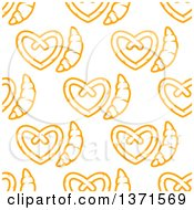 Clipart Of A Seamless Background Pattern Of Croissants And Soft Pretzels Royalty Free Vector Illustration