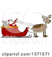 Clipart Of A Moose Pulling Santa In His Christmas Sleigh Royalty Free Vector Illustration