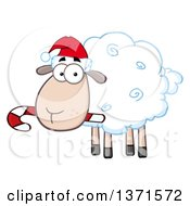 Clipart Of A Cartoon Christmas Sheep Wearing A Santa Hat And Chewing On A Candy Cane Royalty Free Vector Illustration by Hit Toon