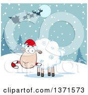 Cartoon Christmas Sheep Chewing On A Candy Cane Under Santas Sleigh In The Snow