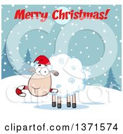 Clipart Of A Cartoon Xmas Sheep Wearing A Santa Hat And Chewing On A Candy Cane Under A Merry Christmas Greeting Royalty Free Vector Illustration by Hit Toon