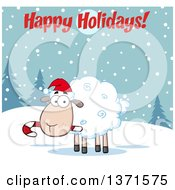 Clipart Of A Cartoon Christmas Sheep Wearing A Santa Hat And Chewing On A Candy Cane Under A Happy Holidays Greeting Royalty Free Vector Illustration by Hit Toon