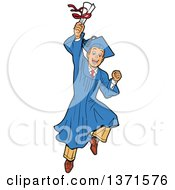 Clipart Of An Excited Young White Male Graduate Jumping And Holding A Diploma Or Degree Royalty Free Vector Illustration
