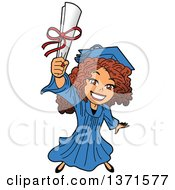 Clipart Of An Excited Young White Female Graduate Holding Up A Diploma Or Degree Royalty Free Vector Illustration