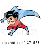 Clipart Of A Male Manga Super Hero Boy Flying Royalty Free Vector Illustration