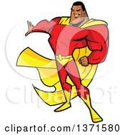 Clipart Of A Buff Black Male Super Hero Holding Out A Hand Royalty Free Vector Illustration by Clip Art Mascots