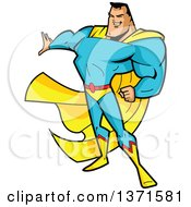 Clipart Of A Buff White Male Super Hero Holding Out A Hand Royalty Free Vector Illustration by Clip Art Mascots