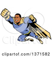 Clipart Of A Tough Black Male Super Hero Flying Royalty Free Vector Illustration by Clip Art Mascots