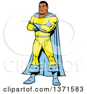 Clipart Of A Male Super Hero Standing With Folded Arms Royalty Free Vector Illustration by Clip Art Mascots