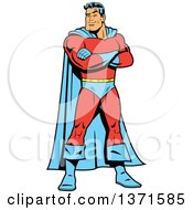 Clipart Of A Tough White Male Super Hero Standing With Folded Arms Royalty Free Vector Illustration by Clip Art Mascots