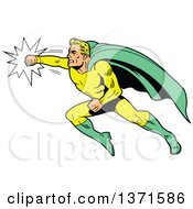 Clipart Of A Blond White Male Super Hero Flying And Punching Royalty Free Vector Illustration by Clip Art Mascots