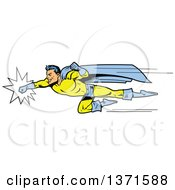 Clipart Of A Male Super Hero Punching And Flying Royalty Free Vector Illustration by Clip Art Mascots