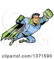 Clipart Of A Male Super Hero Flying With Fists Out Royalty Free Vector Illustration by Clip Art Mascots