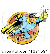 Clipart Of A Male Super Hero Medic Flying With An Antidote Serum Royalty Free Vector Illustration