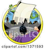 Clipart Of A Male Super Hero Facing A Giant Paper Monster With Text Space Royalty Free Vector Illustration by Clip Art Mascots