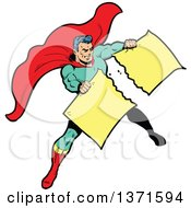 Clipart Of A Male Super Hero Tearing Apart A Sign Royalty Free Vector Illustration