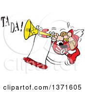 Clipart Of A Cartoon Energetic Herald Jumping And Blowing A Trumpet To Make A Big Announcement With Ta Da Text Royalty Free Vector Illustration