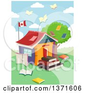 Clipart Of A School House Made Of Books With Book Birds Flying And A Canadian Flag Royalty Free Vector Illustration