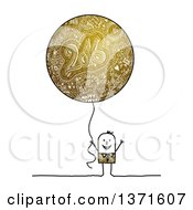 Stick Man Holding A Golden New Year Party Balloon