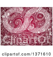 Clipart Of A Doodled Red New Year 2016 Background Royalty Free Illustration
