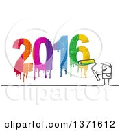 Clipart Of A Stick Man Painting New Year 2016 Royalty Free Illustration
