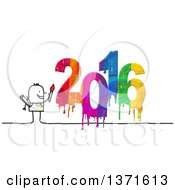 Clipart Of A Stick Man Painting New Year 2016 Royalty Free Illustration by NL shop