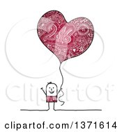 Stick Man Holding A Heart Shaped New Year 2016 Party Balloon