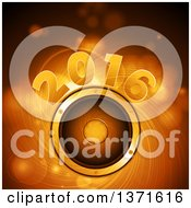Clipart Of A Gold 2016 New Year Over A Gold Swirl And Music Speaker Royalty Free Vector Illustration