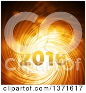 Clipart Of 2016 New Year Over A Gold Spiraling Tunnel Royalty Free Vector Illustration by elaineitalia