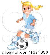 Clipart Of A Blond Caucasian Girl Playing Soccer Royalty Free Vector Illustration