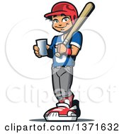 Poster, Art Print Of Happy Male Baseball Player Boy Holding A Glass Of Water And A Bat