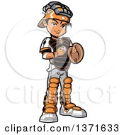 Poster, Art Print Of Male Baseball Player Boy Catcher Standing And Holding A Ball