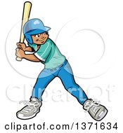 Poster, Art Print Of Black Baseball Player Boy Batting