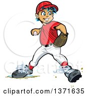 Clipart Of A White Male Baseball Player Boy Baseman Throwing Royalty Free Vector Illustration by Clip Art Mascots