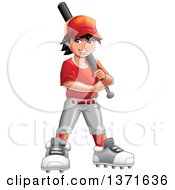 Clipart Of A Happy Baseball Player Boy Holding A Bat Royalty Free Vector Illustration