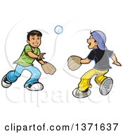 Poster, Art Print Of Happy Boys Playing Catch With A Baseball
